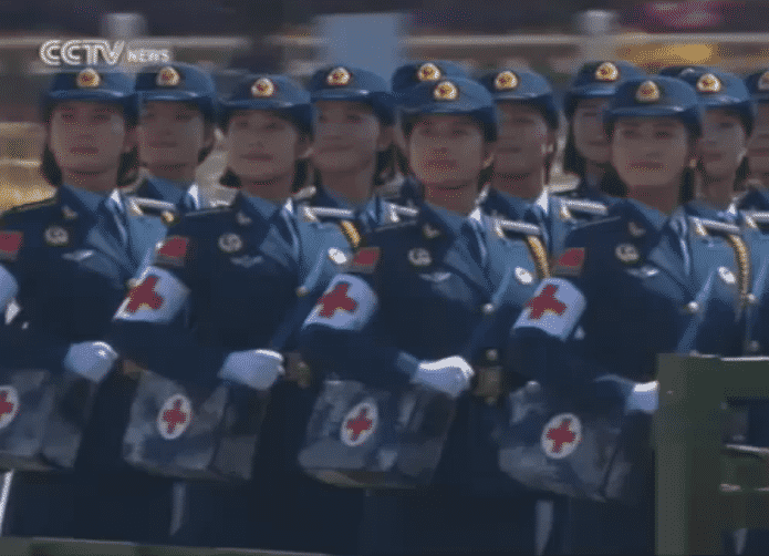vday parade women medical corps troops close up