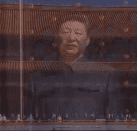 vday parade xi jinping's shadow overlooking close up