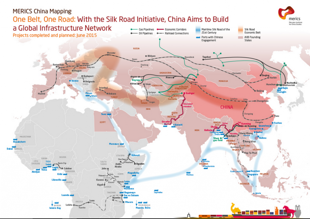 Belts and Roads 2015 Silk map with Africa PNG