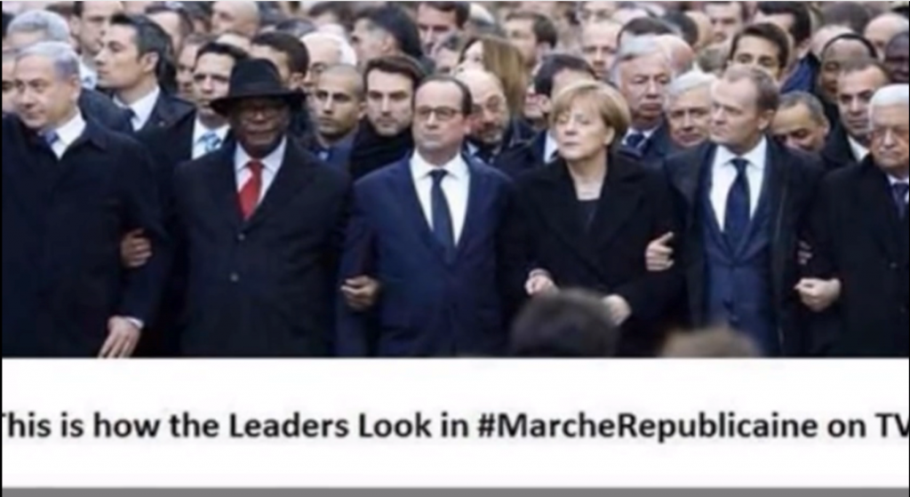 Fake leader march for Charlie Hebdo outtake