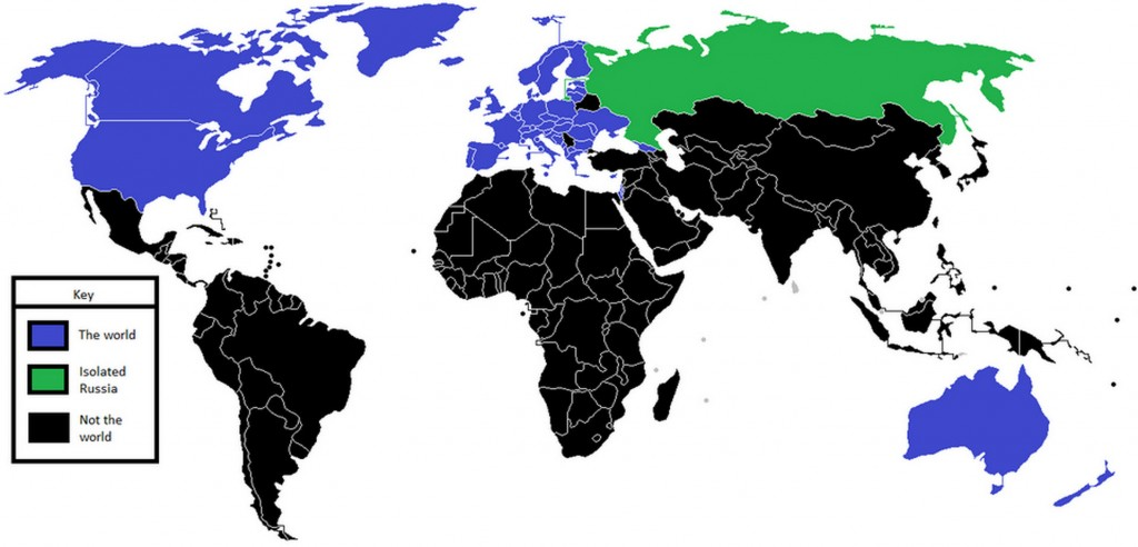 Isolated Russia and Not the World map www.zerohedge.com
