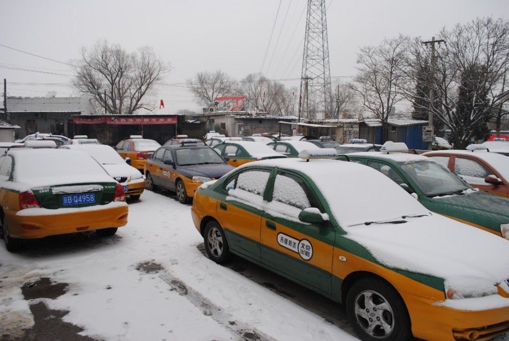 Kangying taxis parked in snow