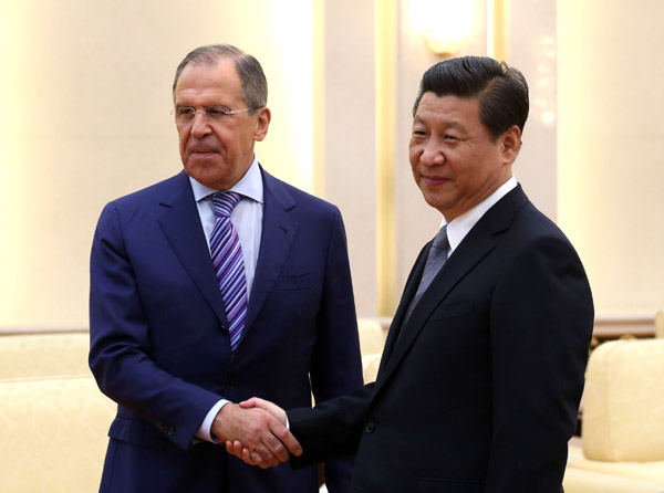Lavrov and Xi in Beijing on April 16th chinadaily.com.cn