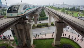 Maglev elevated train and tracks